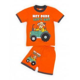 Костюм летний для мальчика Трактор, оранжевый