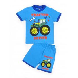Костюм летний для мальчика Трактор, голубой