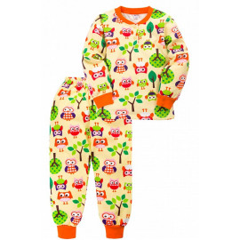 Пижама тёплая для девочки Совы, бежевый