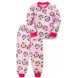 Пижама тёплая для девочки Пингвины, розовый