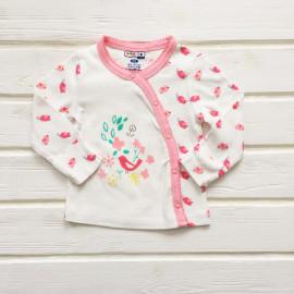 Кофточка для новорожденных с длинным рукавом Птичка, розовый