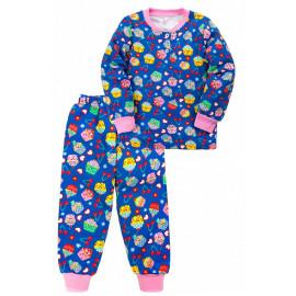Пижама тёплая для девочки Кексы, темно-синий