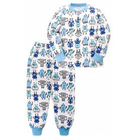 Пижама тёплая для мальчика Роботы, белый