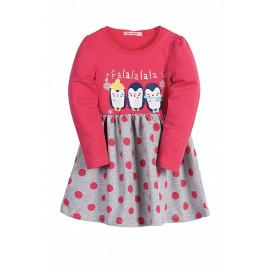 Платье для девочки Пингвинята, малиновый