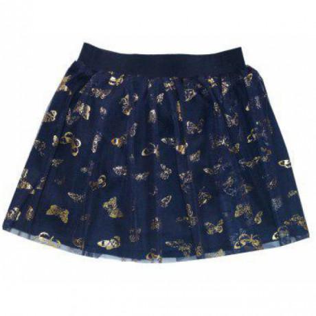 Юбочка для девочки из фатина Бабочки, синий/золотистый