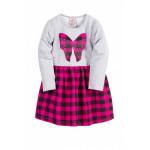 Платье для девочки клетчатое, малиновый