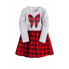 Платье для девочки клетчатое, красный