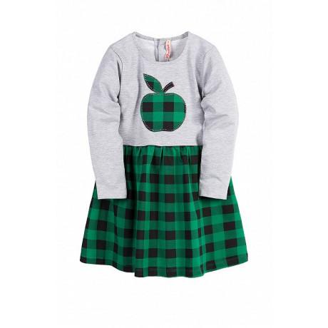 Платье для девочки клетчатое, зеленый