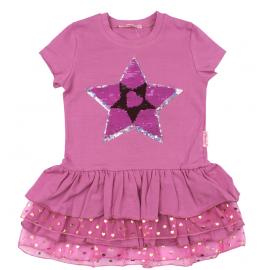 Платье для девочки с пайетками Звезда, розовый
