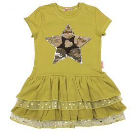 Платье для девочки с пайетками Звезда, оливковый