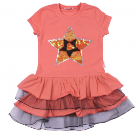 Платье для девочки с пайетками Звезда, коралловый