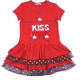 Платье для девочки с пайетками Звезда, красный