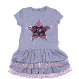 Платье для девочки с пайетками Звезда, меланжевый