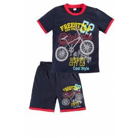 Костюм летний для мальчика Велосипед, темно-синий