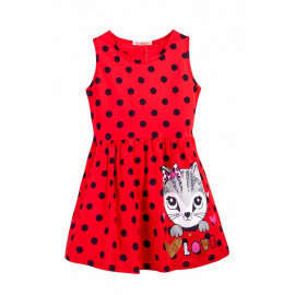 Сарафан для девочки в горошек Кошка, красный