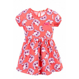 Платье для девочки с карманом Котики, коралловый
