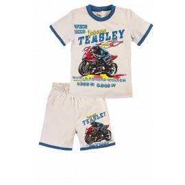 Костюм летний для мальчика Мотоцикл, светло-серый