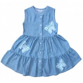 Платье для девочки Бабочки, джинса