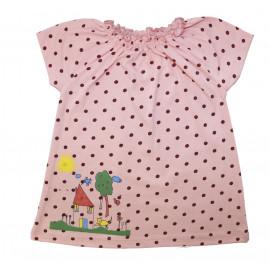 Платьице с коротким рукавом для малышки Горошек, персиковый