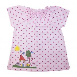 Платьице с коротким рукавом для малышки Горошек, розовый