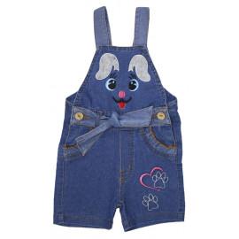Полукомбинезон для девочки джинсовый, синий