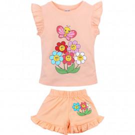 Костюм летний для девочки Цветы, персиковый