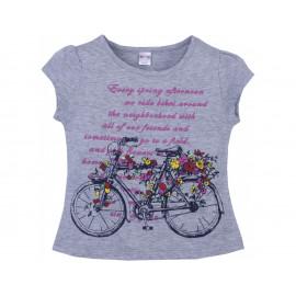 Футболка для девочки Велосипед, меланжевый