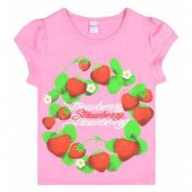 Футболка для девочки Клубника, розовый
