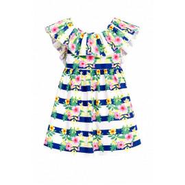 Платье с воланом, белый/синяя полоска