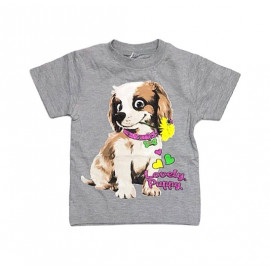 Футболка для девочки Собака, меланжевый