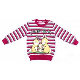 Джемпер для девочки Кролики, малиново-красный