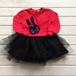 Платье для девочки с длинным рукавом и фатиновой юбкой Зайка, малиновый