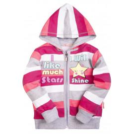 Толстовка для девочки с капюшоном Звезда, бордовый/белый/серый