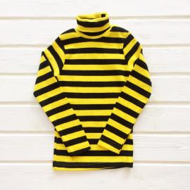 Водолазка для девочек и мальчиков в полоску, черный/желтый