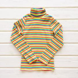 Водолазка для девочек и мальчиков в полоску, белый/желтый/красный/бирюзовый