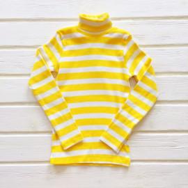 Водолазка для девочек и мальчиков в полоску, белый/желтый