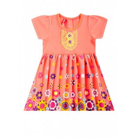 Платье для девочки Цветочный вальс, коралловый