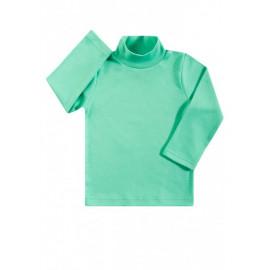Водолазка для мальчиков и девочек однотонная в рубчик, зеленый