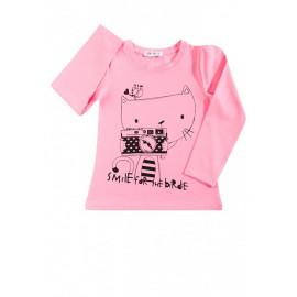 Лонгслив для девочки Кошка с фотоаппаратом, розовый