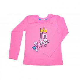 Лонгслив для девочки Корона, ярко-розовый