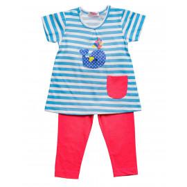 Комплект для девочки  Полоска, ярко-голубой