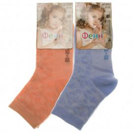 Носки для девочек однотонные Узоры, микс