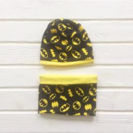 Комплект Шапка двухслойная с принтом и кантом + снуд, бетмен желтый