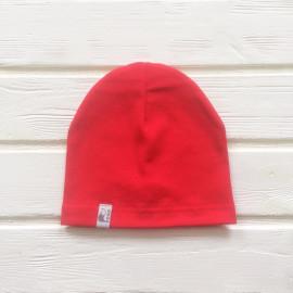 Шапка бини однослойная одноцветная, красный