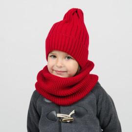 Комплект вязаный Шапка Тыковка+Снуд, красный