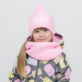 Комплект вязаный Шапка Тыковка+Снуд, розовый