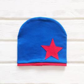 Шапка двухслойная с кантом и звездой, синий