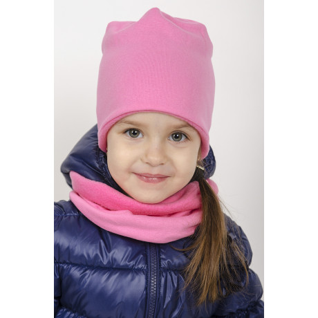 Комплект Шапка 6 клиньев двухслойная +снуд, с флисовым подкладом, розовый