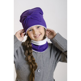 Комплект Шапка двухслойная с большим бантом + снуд ,с флисовым подкладом, фиолетовый