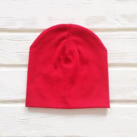 Шапка бини трикотажная двухслойная одноцветная, красный